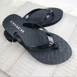 NEW COACH Black Embossed Abbigail Flip Flops 5